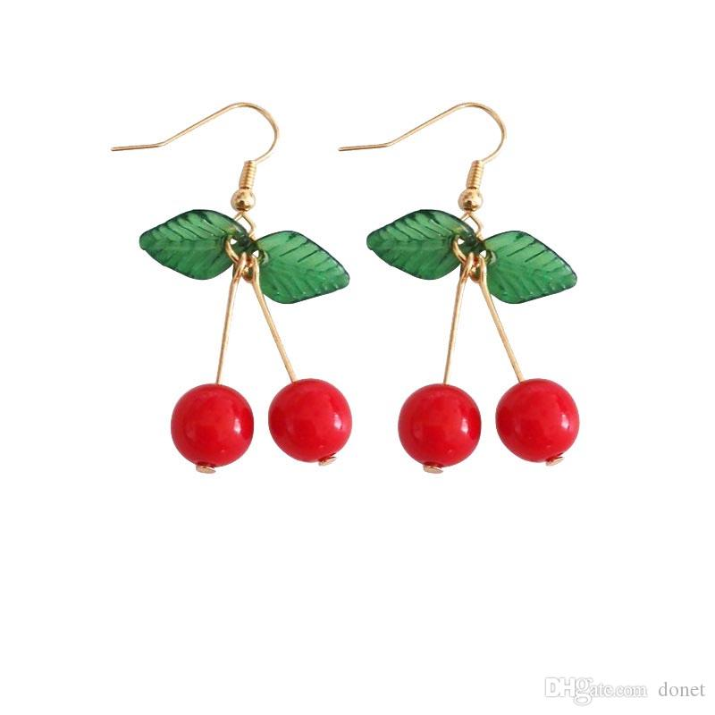 Sıcak kırmızı Kiraz küpe eardrop Tatlı meyve taze kiraz eardrop kadın moda gençlik kadınlar için güzel kız öğrenciler küpe