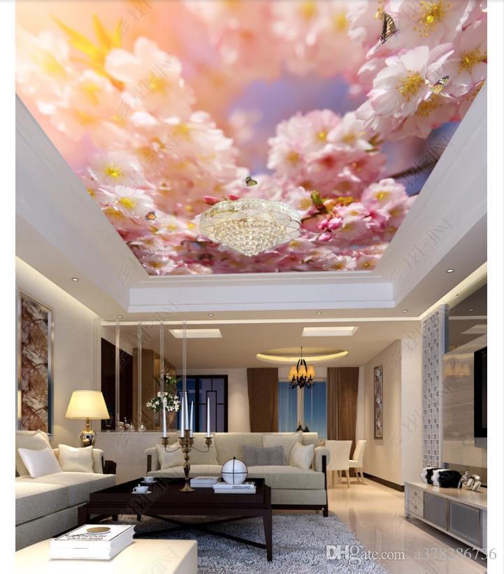 3d zenith murale personalizzato foto soffitto carta da parati Bella pesca farfalla soffitto zenith interno decorativo murale sfondo muro