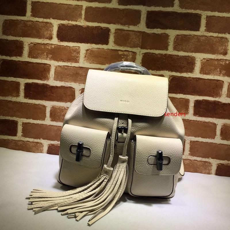 Calidad superior de lujo del diseño de marca Carta de grabación en relieve del bolso de la borla de las mujeres del morral de cuero genuino 370833 bolsa de viaje
