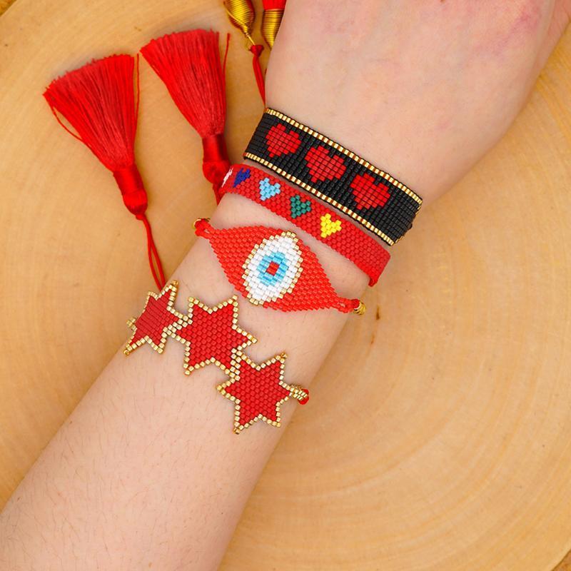 Go2boho Миюки бусины браслет женщины турецкий сглаз Pulseras Mujer Joyeria сердце браслеты Звезда кисточкой повязка мексиканские ювелирные изделия