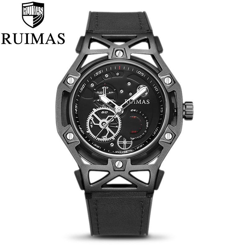 Ruimas Fashion Black Mens Hommes Designer Militaire Luxe Military Lumineux Montres de poignet classiques pour hommes