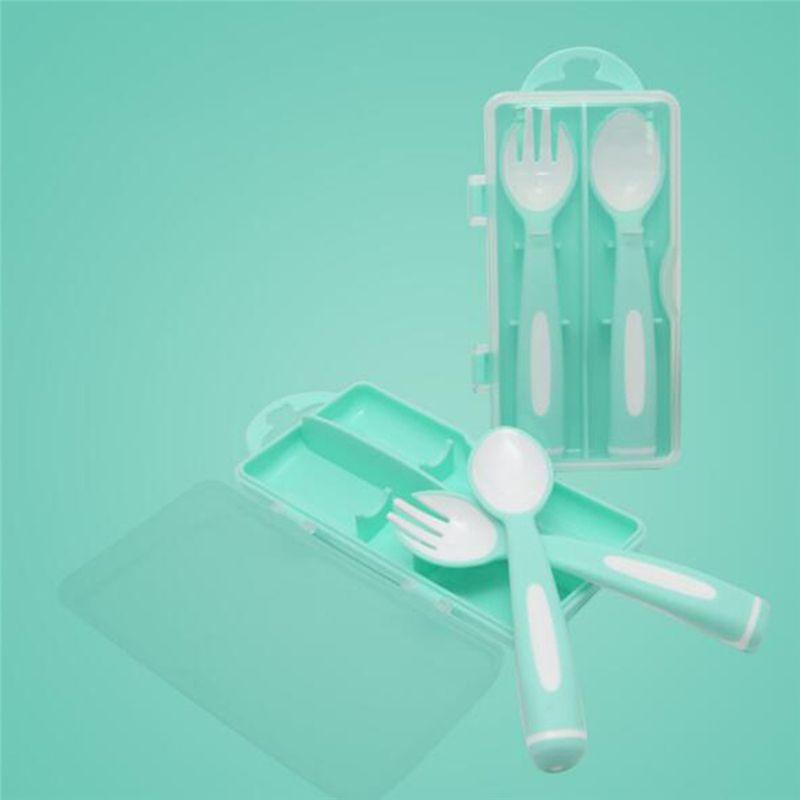 Crianças talheres Baby Feeding Spoons Gadget Boon crianças Alimentando Forks infantil Utensílios Talheres Colher para o bebê Kid Louça