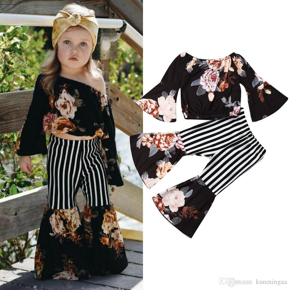 Summer Toddler Kids Baby Girls Outfits Flower T-shirt Tops Shorts 2Pcs Clothes