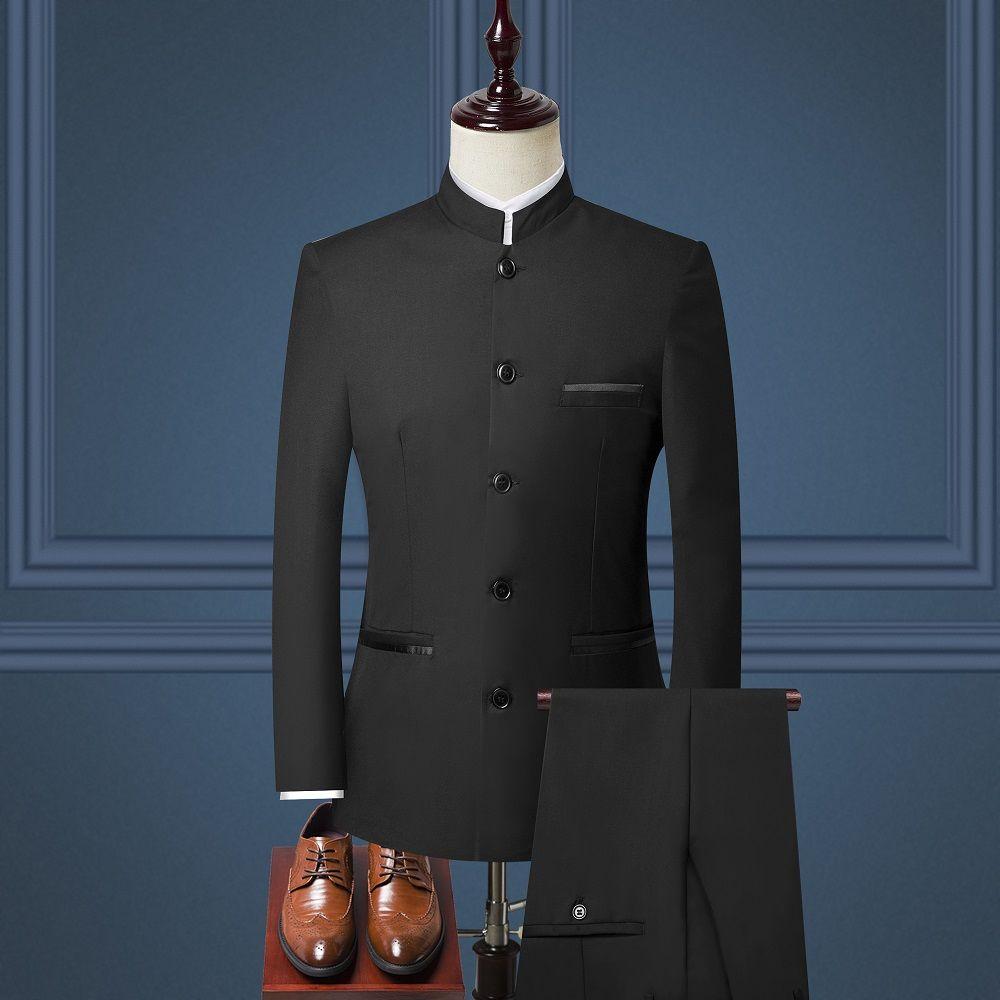 Setwelldrees stile cinese del collare del basamento del vestito da sposa sposo maschio Slim Fit Plus giacca sportiva degli uomini 3 piece I vestiti smoking (Jacket + Pant + Vest)