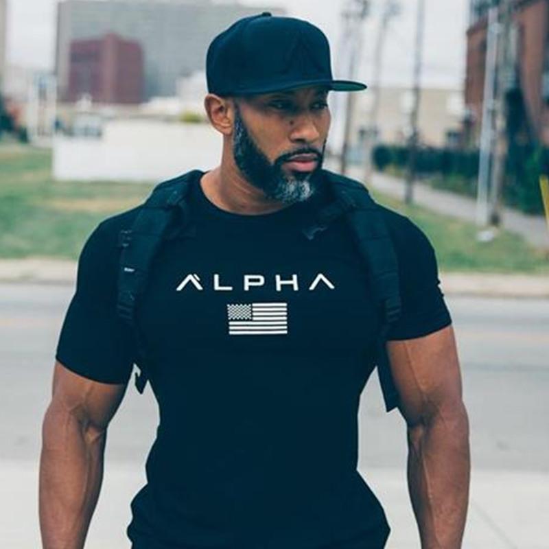 Männer Kurzarm Baumwolle T-Shirt beiläufige Art und Weise dünne T Shirt Mann Fitness-Studios Fitness Bodybuilding Workout-T-Shirt Tops Alpha Kleidung SH190824