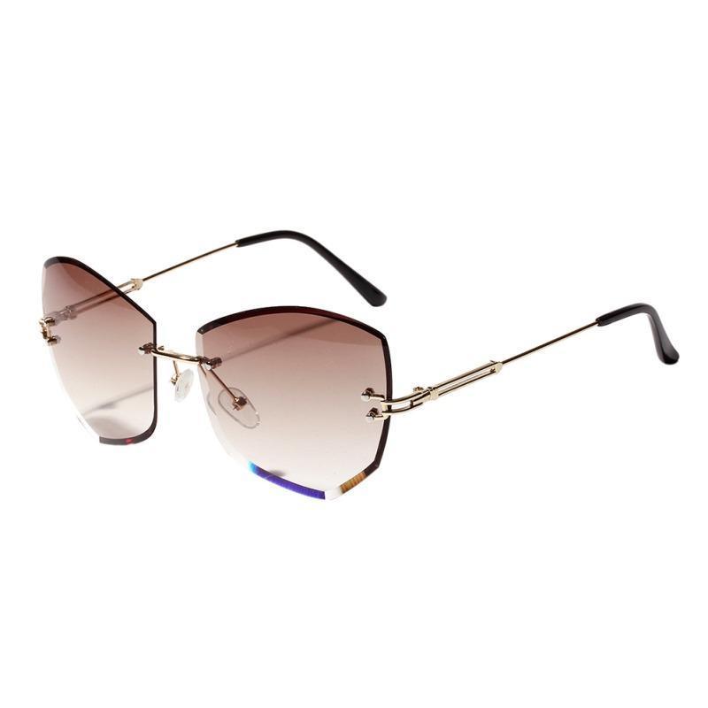 Женщины Людей Rimless Cat Eye Ромбовидного бескаркасные Солнцезащитные очки Clear Цветного Фестивальный объектив Повседневные Солнцезащитные очки 2019 New