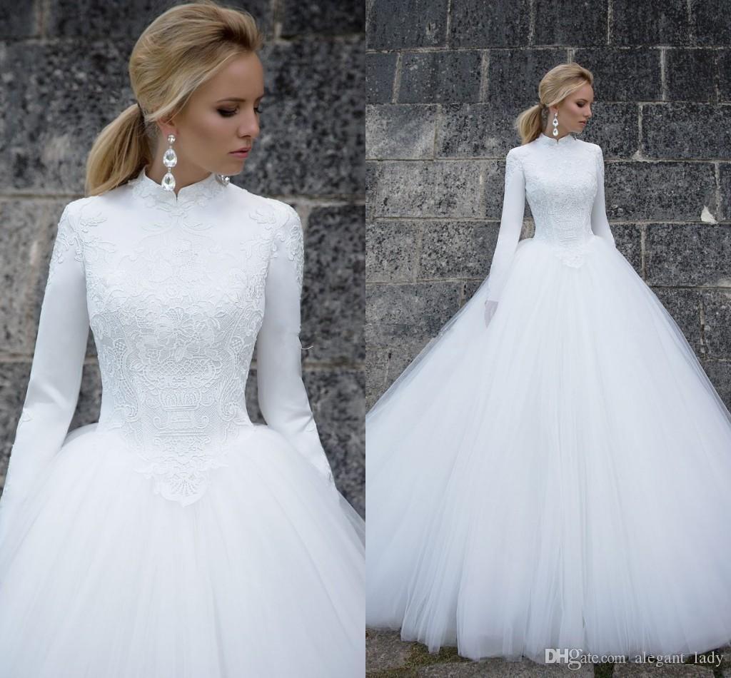 Mangas largas Vestidos de novia musulmanas 2019 elegante cuello alto manga larga encaje satinado tul longitud de longitud vestido de bola vestidos nupciales vestidos de novia