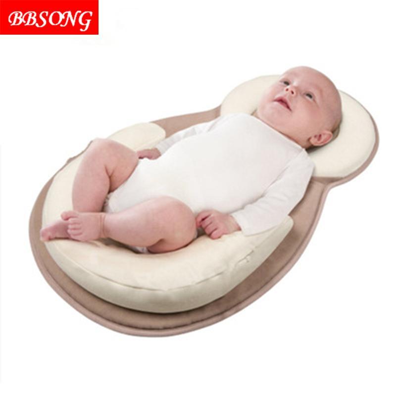 BBSONG Infant Newborn Anti-rollover Mattress Pillow 0-12 Months Baby Sleep Positioning Pad Cotton Prevent Flat Head Shape Pillow