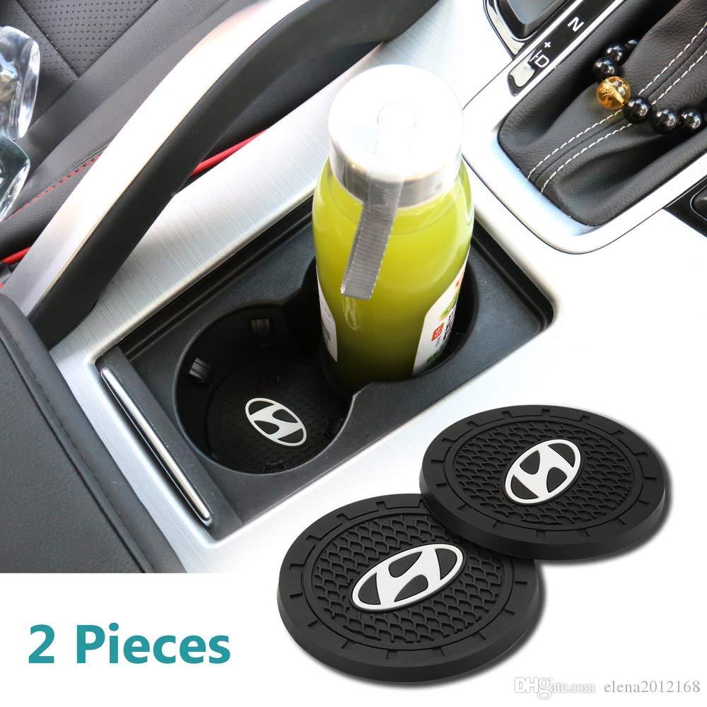 2 piezas de 2,75 pulgadas del interior del coche Accesorios Anti Slip ranura Copa esteras para Hyundai Todos los modelos