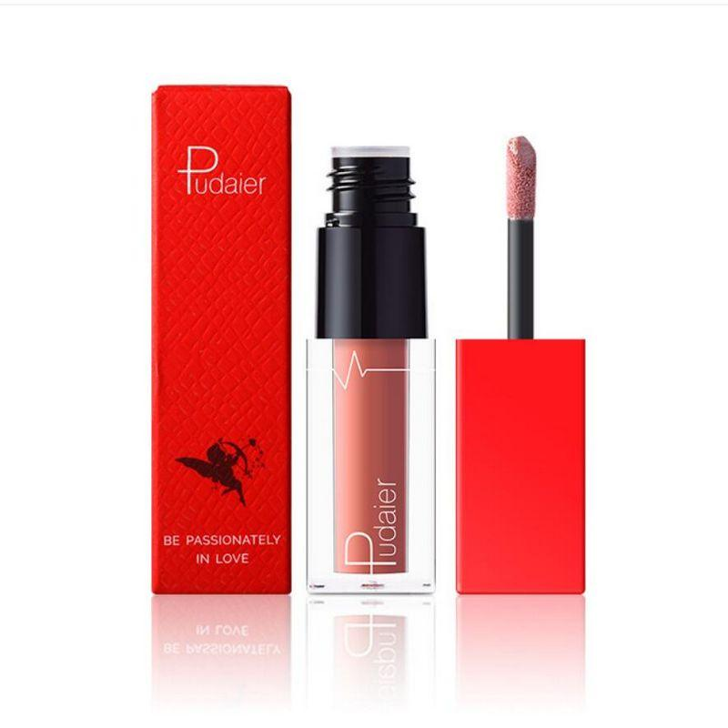 Pudaier velvet matte lip gloss Bean sand series 18 colors nude brown lip tint waterproof long lasting liquid lipstick