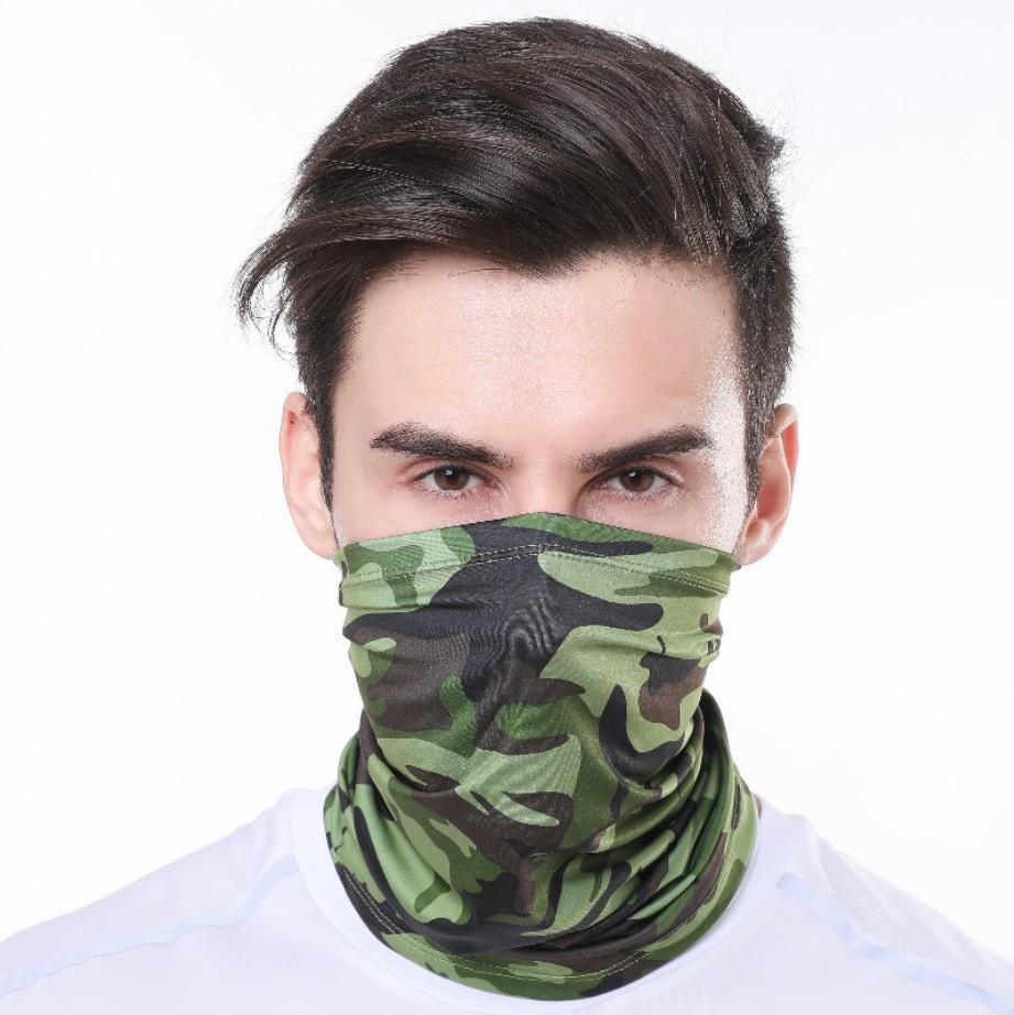 Ice Silk Face Mask Camouflage Magic Scarves Outdoor Mouth Neck Protect Cover Summer Quick Dry Protect Neck Face Masks 20colors