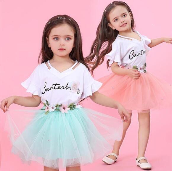 Mädchen Kleidung 2019 Marke Mädchen Kleidung Sets Kinder Kleidung Brief Druck Kinder Kleidung Mädchen Tops + Rock