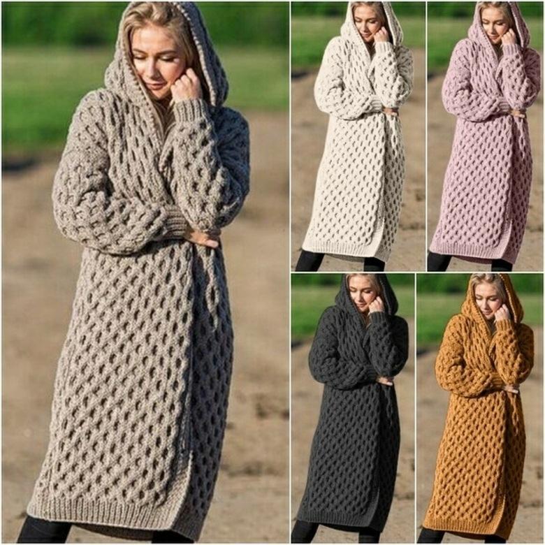 2019 Kış Sıcak Yeni Stil Moda Kadın Giyim Uzun Örme Triko Kapşonlu Hırka Ceket SH190912