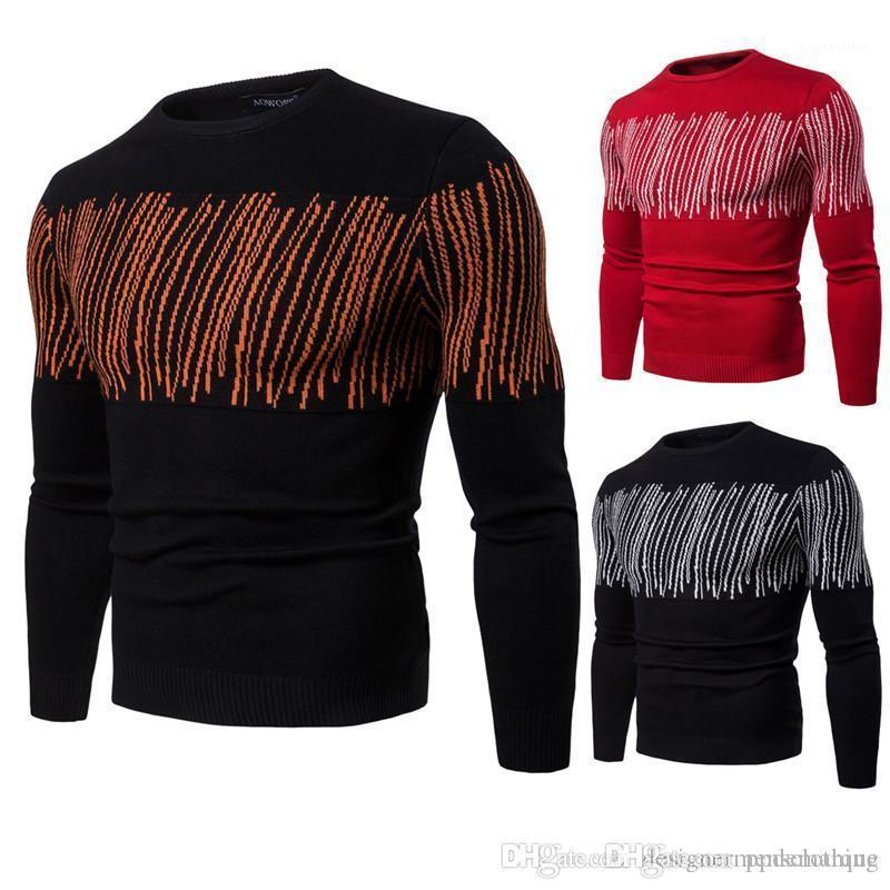 Tops Casual maschio sottile Pullover Designer Inverno Mens Maglie maniche lunghe a righe stampato Hommes