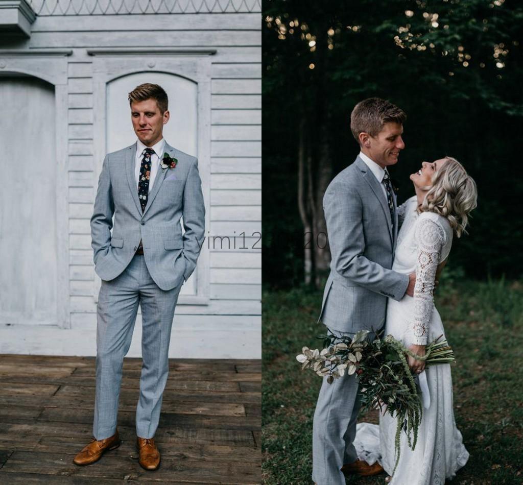 Grau Hochzeit Anzüge für Männer Kerb Revers Prom Anzüge Slim Fit Kostüm Mariage Hommes Blazer Jacke Männer 2 Stück Mantel + Hose