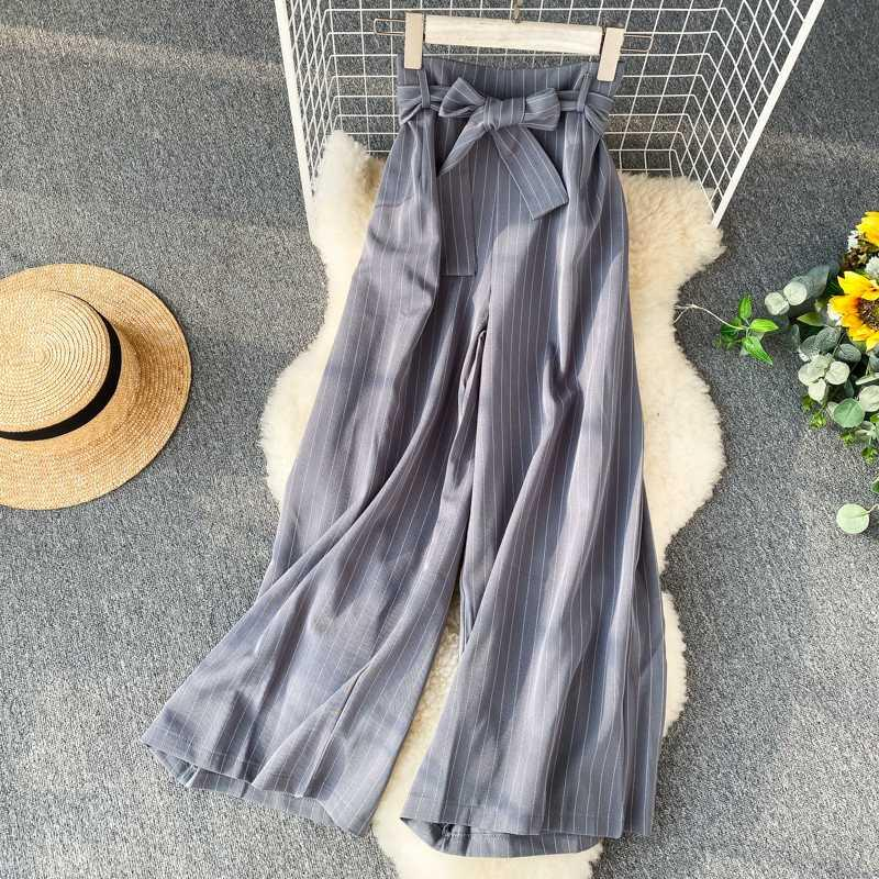 Women's high waist suit striped wide-leg pants