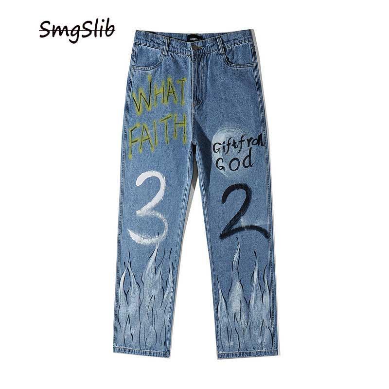 2020 Graffiti Feuer Flamme Druck Lässige Baggy Denim Jeans Hip Hop Hipster Street Pants Men Fashion Punk Rock Hose Männlich