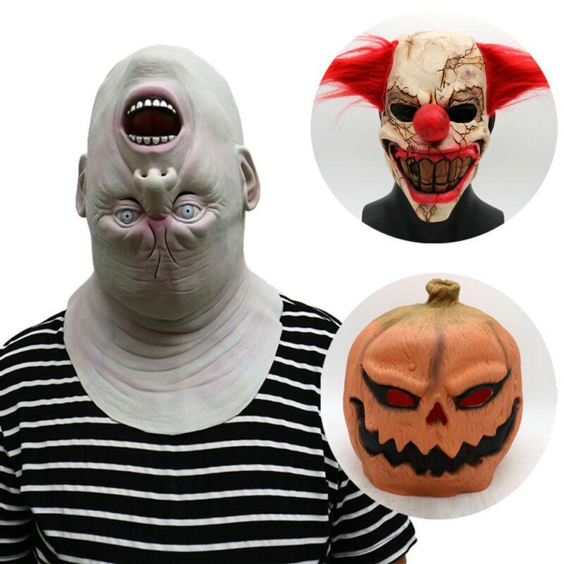 Pumpkin Man Skull Mask Halloween Full Scary Costume Cosplay Masquerade Props