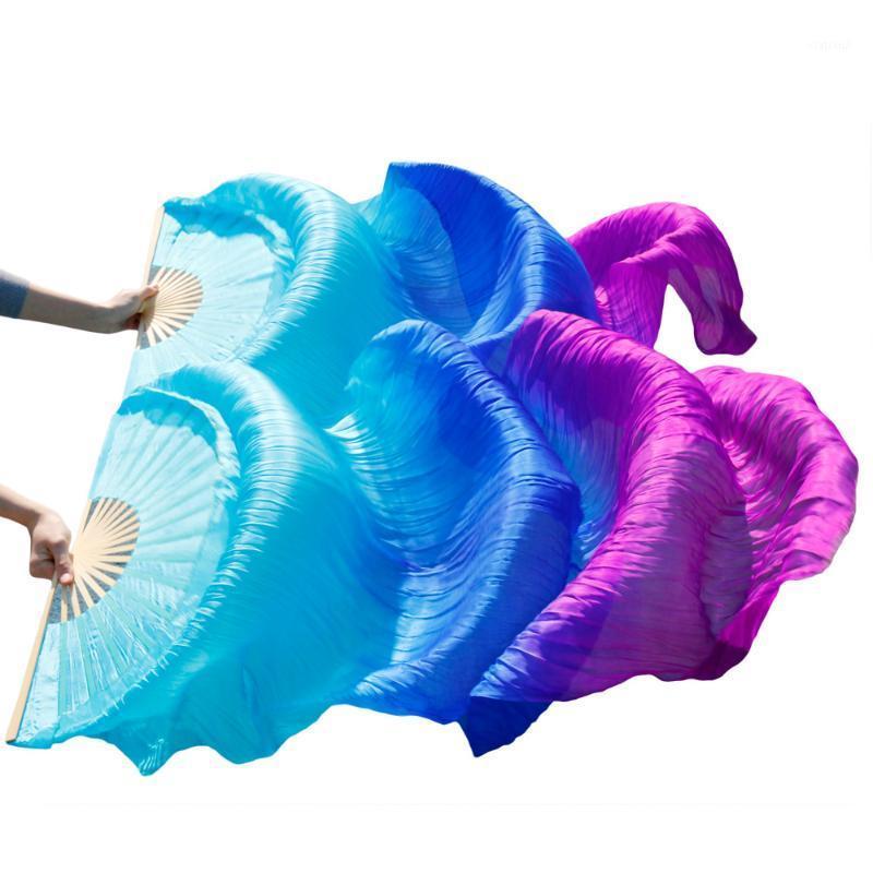 2018 고품질 실크 밸리 댄스 팬 댄스 100%실제 실크 베일은 왼쪽+오른쪽 hotsale turquiose+로얄 블루+퍼플
