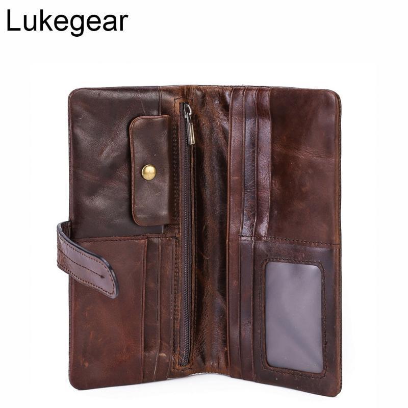 Carteras Lukege 100% Cera de cuero genuino Monedero hecho a mano Vintage Standard con bolsillo de monedas
