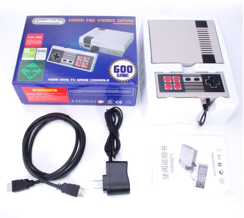 HDMI البسيطة TV كلاسيكي أنظمة تشغيل CoolBaby 600 نموذج لعبة فيديو لاعب ل600 NES HD ألعاب وحدة التحكم الميلاد عيد الميلاد هدايا عيد الميلاد MQ05