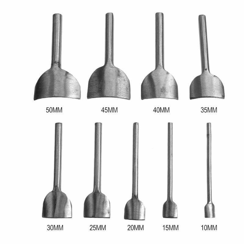 9pcs / set 10-50 MM Herramientas de Punch de cuero para Cinturón de cuero Craft medio-redondo cortador para hacer bolsas