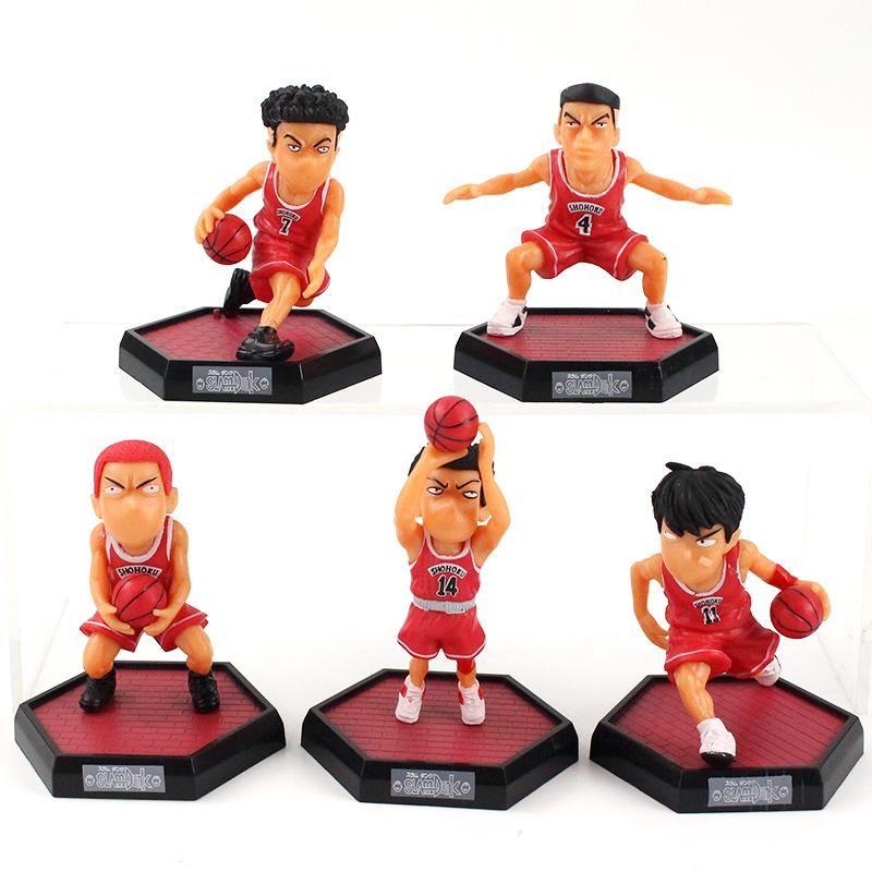5pcs//set Slam Dunk Figure Toy PVC HanamichiSakuragi Kaede Rukawa Takenori Akagi
