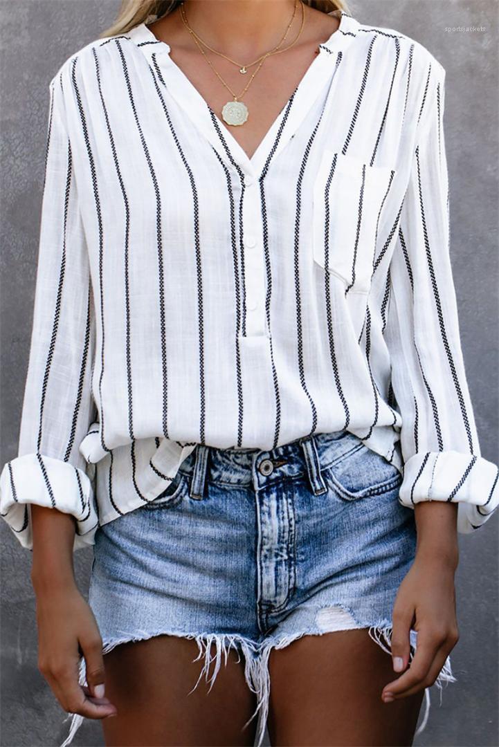Карманный Полосатый печати Дизайнерская женская одежда с длинным рукавом V шеи Женские рубашки Мода Женский однобортный Блузы с