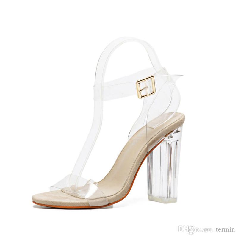Neueste Frauen Pumpt Schnallen Sandalen High Heels Schuhe Promi Tragen Einfache Stil PVC Klar Transparent Riemchen. GGX-011