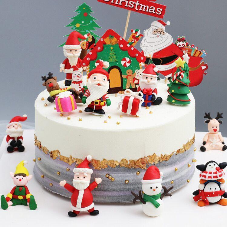 Noel Baba'nın geyiği bayrak ekleme bayrağı eki DHL yumuşak seramik Noel dekorasyon kek dekorasyon insert kartı