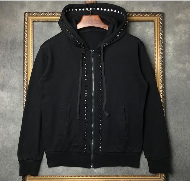 2019 Fashion Mens Hoodies Three-dimensional Metal Handmade Nail Zipper Hooded Sweater Brand Male And Female Cardigan Coat