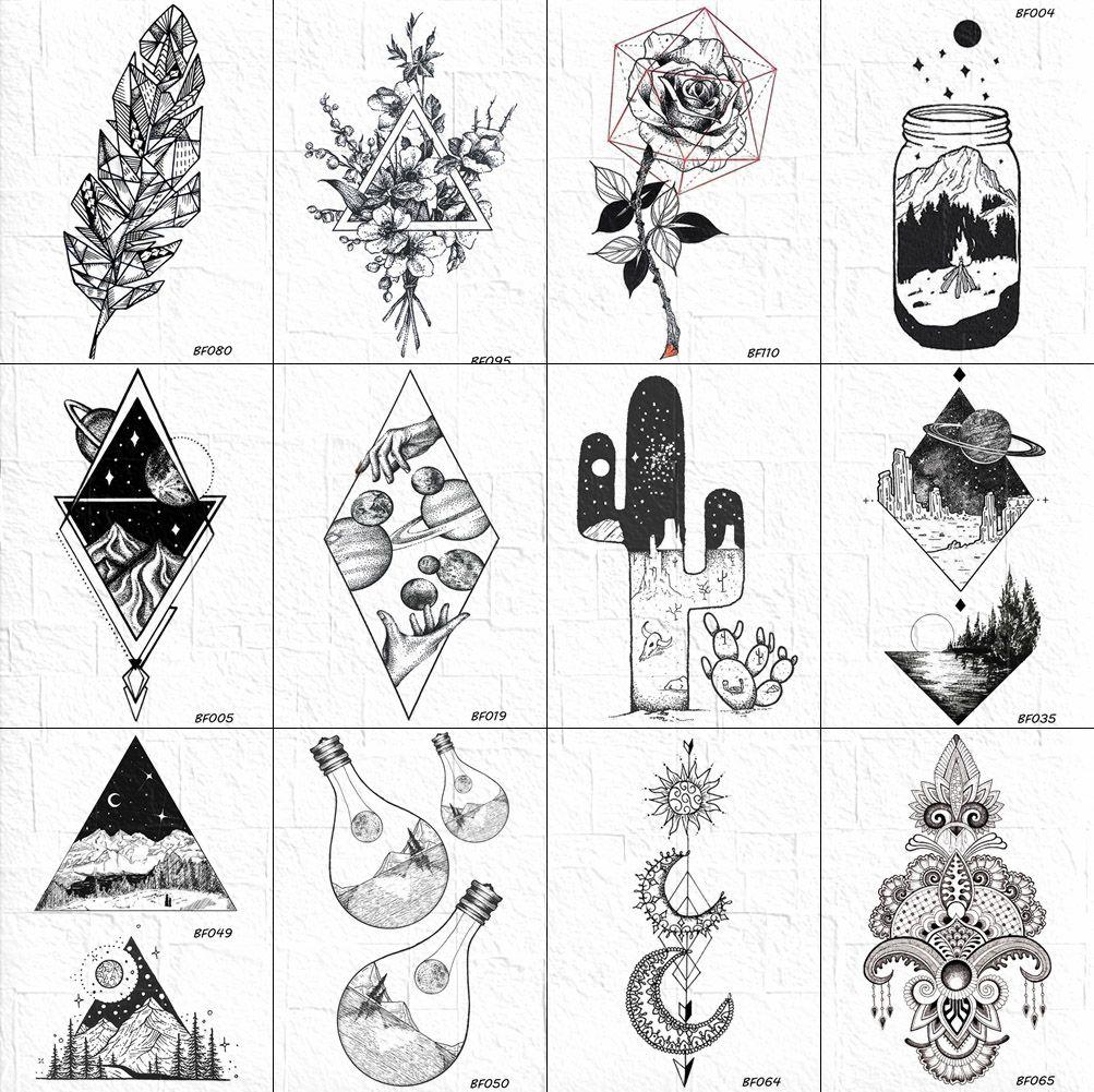 VANKIRS Geometric Cactus Temporary Tattoo Stickers Women Black Geometric  Universe Tatoos Fake Men Peak Body Arm Art Tattoo Paste Temporary Sailor ...