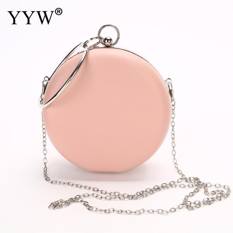 Famous Designer Women Evening Bag Pink Ladies Handbag Luxury Clutch Bag Korean Small Round Purse Fashion Chain Messenger Bags MX190819