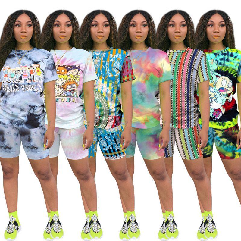 Stampa donna corta due pezzi set top e pantaloncini set da estate tracksuit streetwear sudore tuta donna set casual 2 pezzi abiti