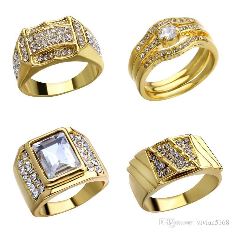New Fashion Gold and Silver Colors Classic Men's Punk Style Hip Hop Ring Rhinestone man Finger rings for men women Size7-14 Free Shipping