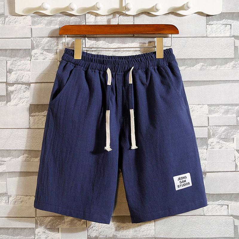 Homens calções fina 2020 novo verão estilo coreano shorts masculinos cordão na altura do joelho azul vermelho cáqui cinza preto adolescente S02 T200325