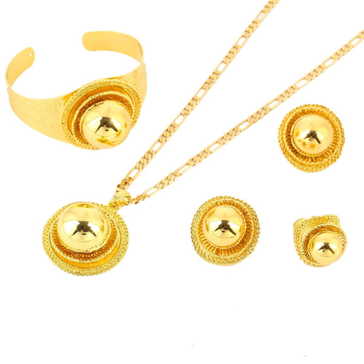 Neue Große äthiopische Hochzeitsschmuck Set Gold Farbe Eritrea Afrika Habesha Schmuck Für Traditionelle Festival Geschenke