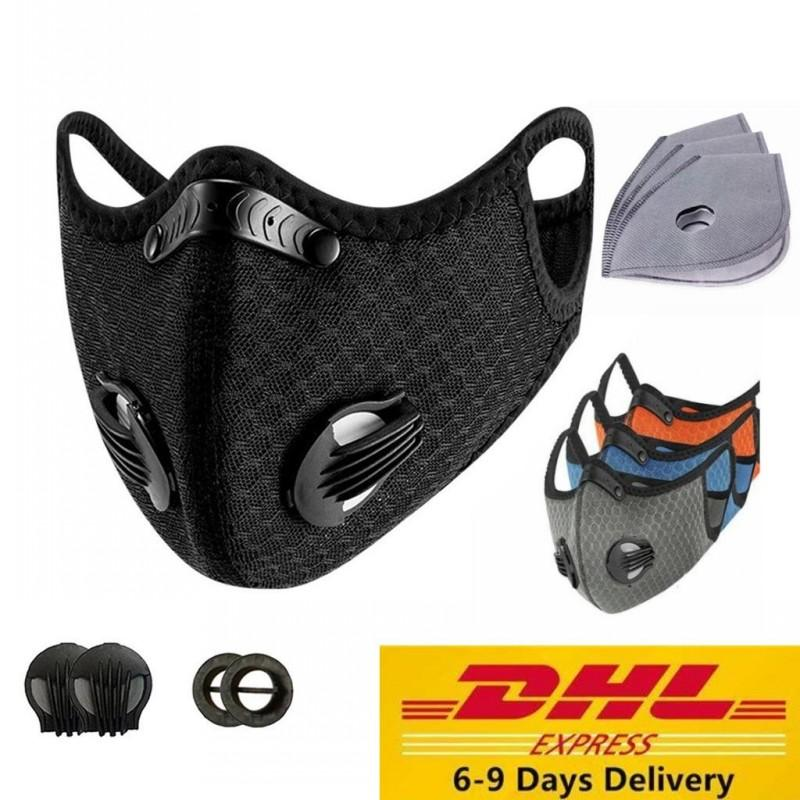 DHL Stock Sport Face Mask PM2.5 Cycling Mask Anti-Dust Anti-Pollution Activated Carbon Filter Effect 95% MTB Bike Cycling Face