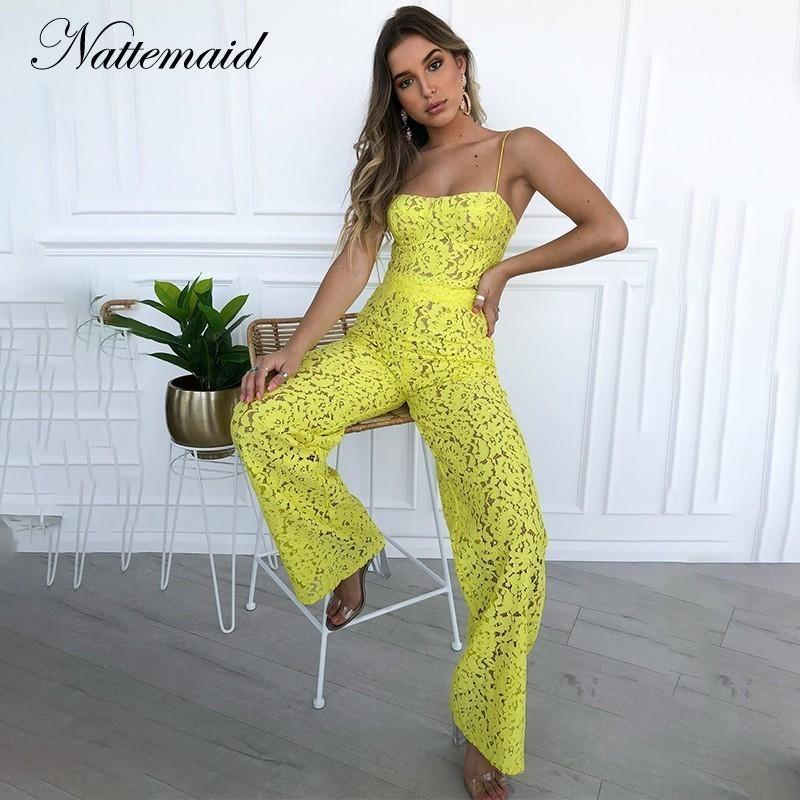 Nattemaid Zip Estate Solid White Lace Due pezzi Set Scava Fuori Off Crop Top e Pant Sexy 2 pezzi Set Women Outfit Set Y19042901