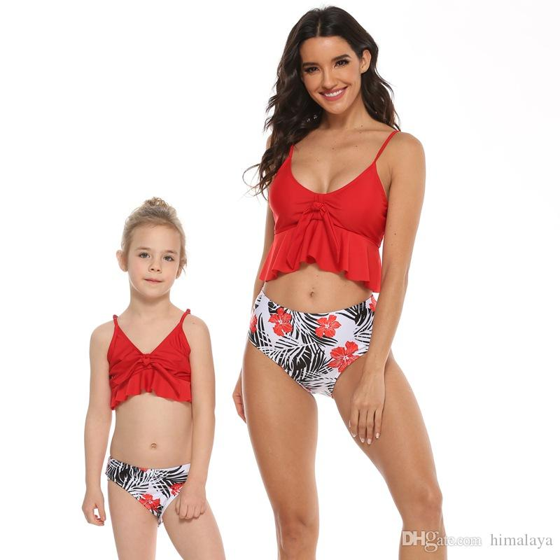 USA Matching Mother Daughter Women Kids Girl Bikini Bathing Swimsuit Swimwear