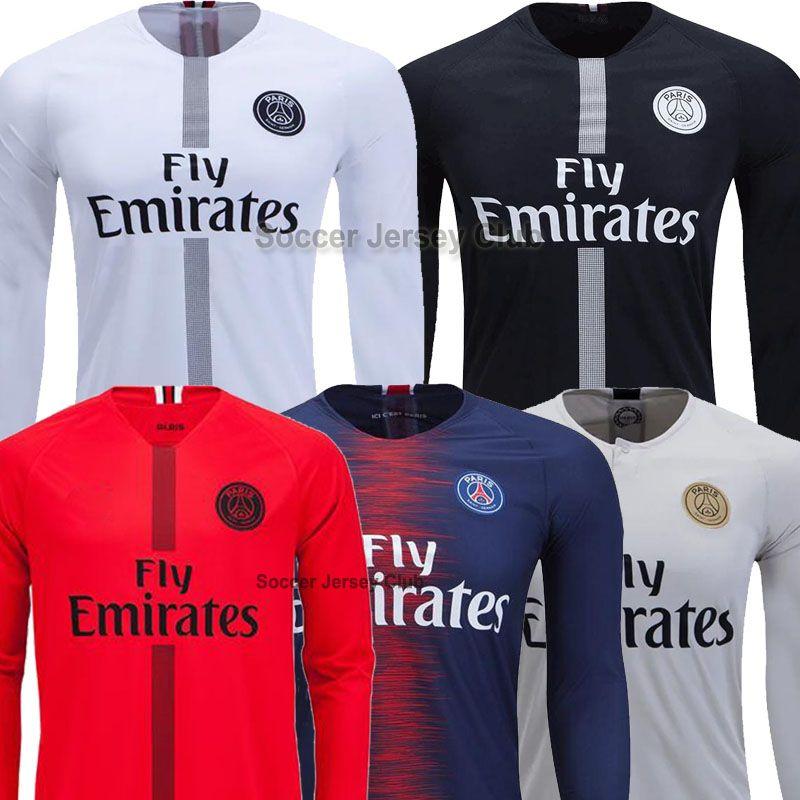 brand new f6d91 efb0a 2019 18 19 PSG Long Sleeve Soccer Jersey Paris MBAPPE CAVANI Full Saint  Germain DANI ALVES Third Away 2018 2019 Thailand Quality Football Shirt  From ...