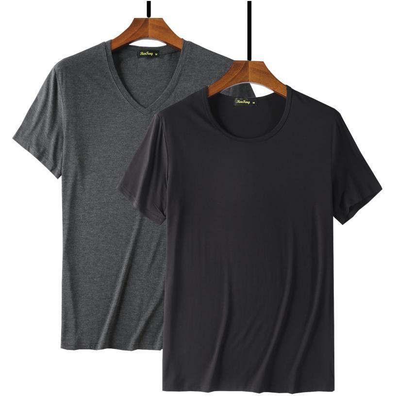 Moda fresco camiseta Homens 95% de fibra de bambu Hip Hop em branco básica Branca Camiseta Para Mens Fashion T-shirt Verão Top Tee Tops preto liso