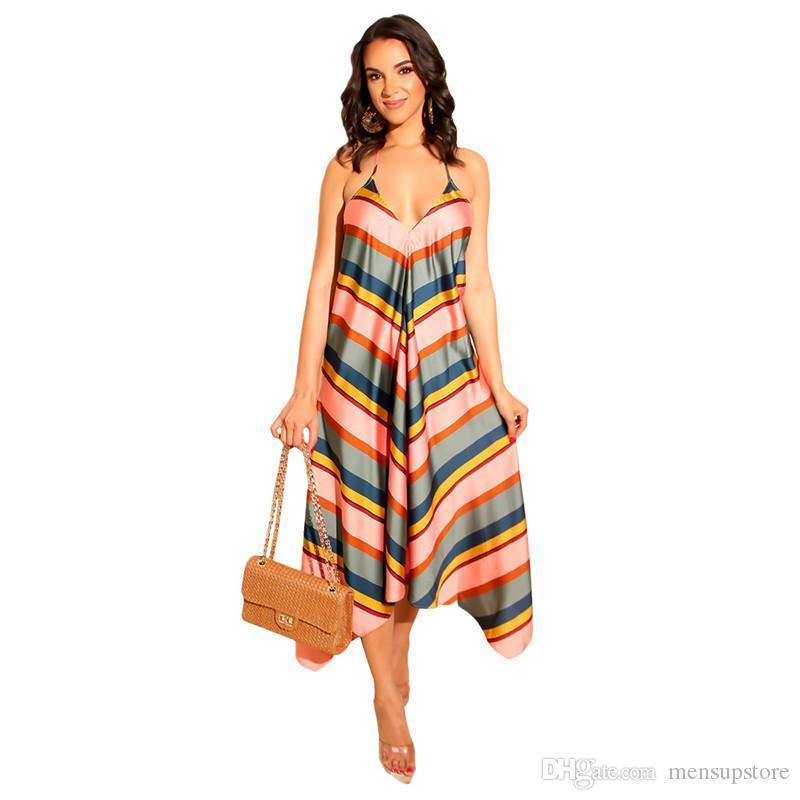 Verão vestido listrado com decote em V Spaghetti Strap longas Maxi Vestidos Mulheres Beach Holiday