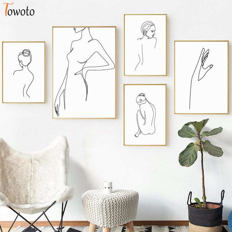 Acheter Minimaliste Peinture Toile Femme Retour Ligne Art Imprimer Mode Poster Scandinave Photos Decoration Femme Mur Chambre Decor De 17 19 Du Georgen Dhgate Com