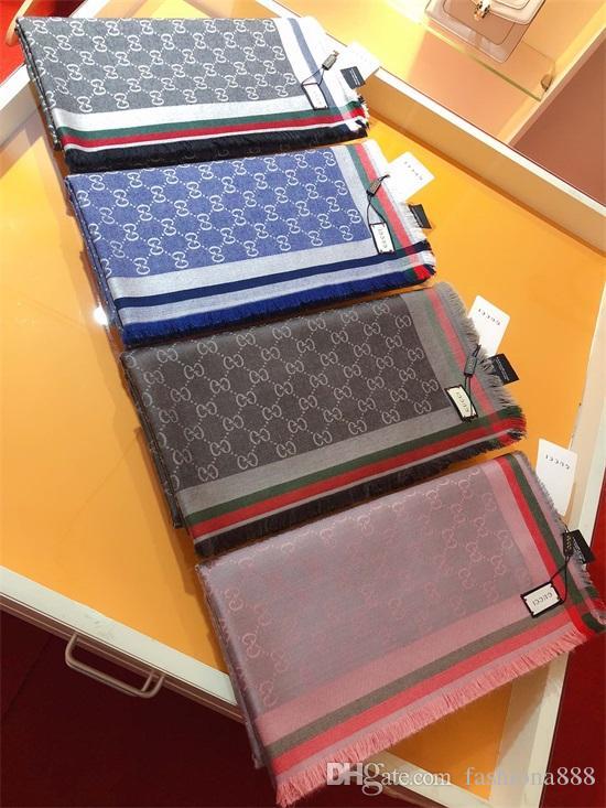 Gucci neue Baumwolljacquard Schal Mode Schal der Frauen hohe Qualität glänzend silberne Linie Schal Alphabet Baumwolle 140x140cm silver line
