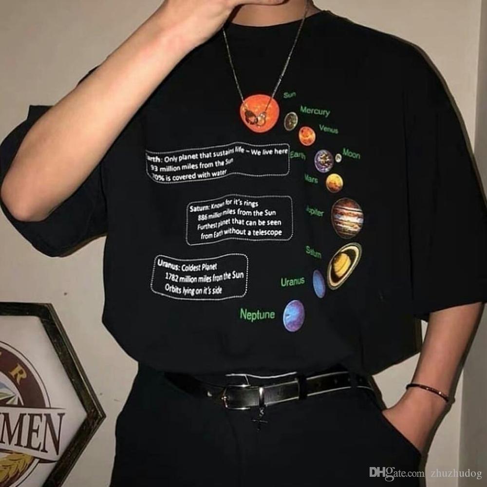 Geek maglietta Sistema Solare T-shirt oversize coreano Moda Tee pantaloni a vita bassa di stile di Grunge Camicia Plutone Tee Shirts Giove Saturno O-Nec