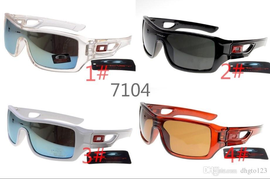 VERÃO ciclismo esportes deslumbrantes óculos de moda óculos de sol das mulheres dos homens revestimento reflexivo óculos de sol óculos de ciclismo 7104 com casos
