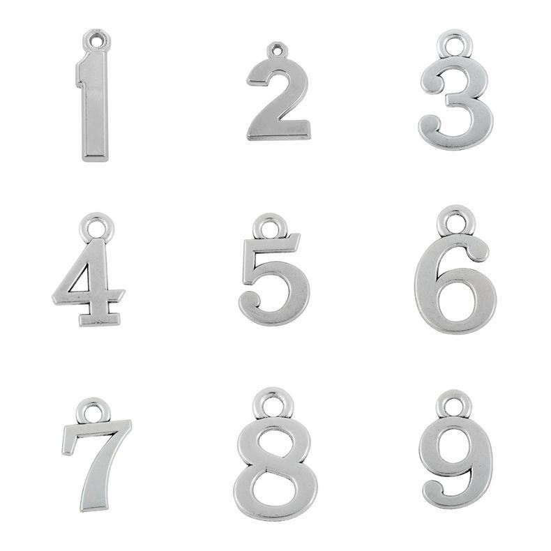 Prata 0-16 número Pingente Simples Encantos Acessórios de Jóias Para DIY Handmade Chaveiro Colar Pulseiras Fazendo