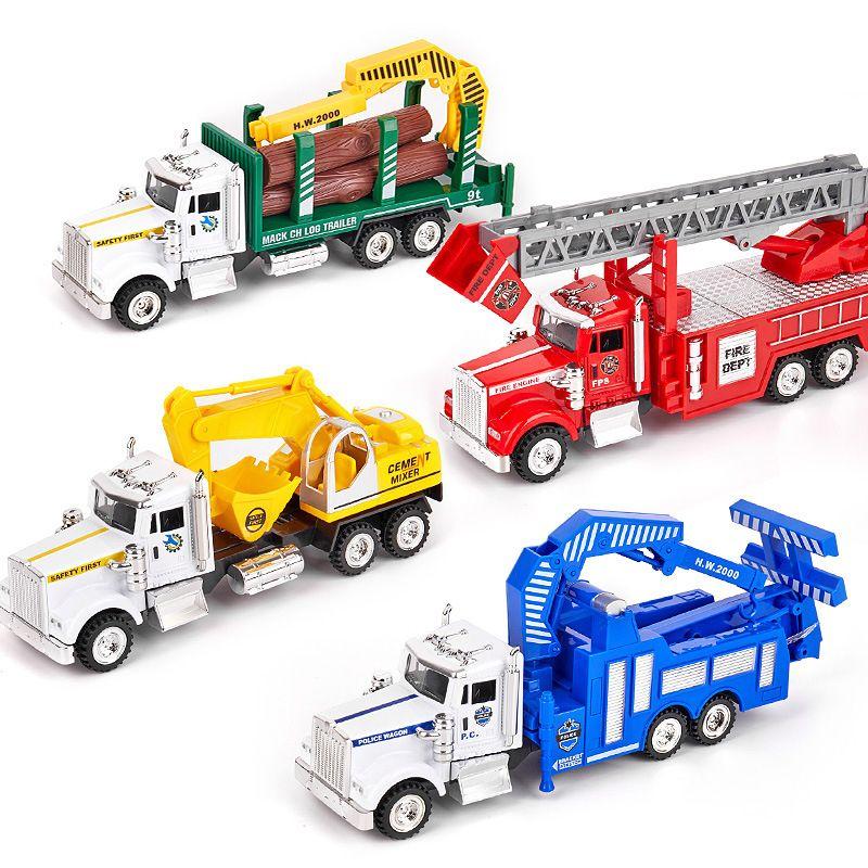 합금 자동차 모델 장난감, 도로 구조 차량, 소방차, 기계 공장 트럭, 위생 트럭, 파티 어린이 생일 선물, 수집, 장식