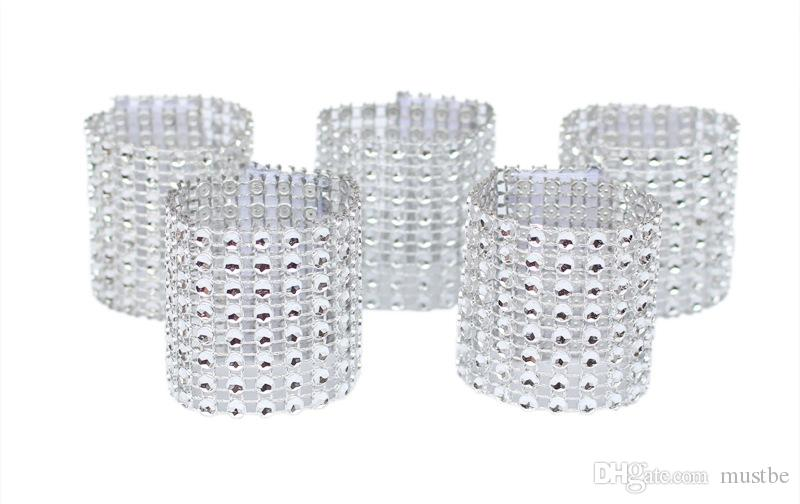 Rhinestone Napkin Rings Wedding Banquet Napkin Holder Wrap Buckle Chair Sashes Bow Covers Hotel Party Decoration